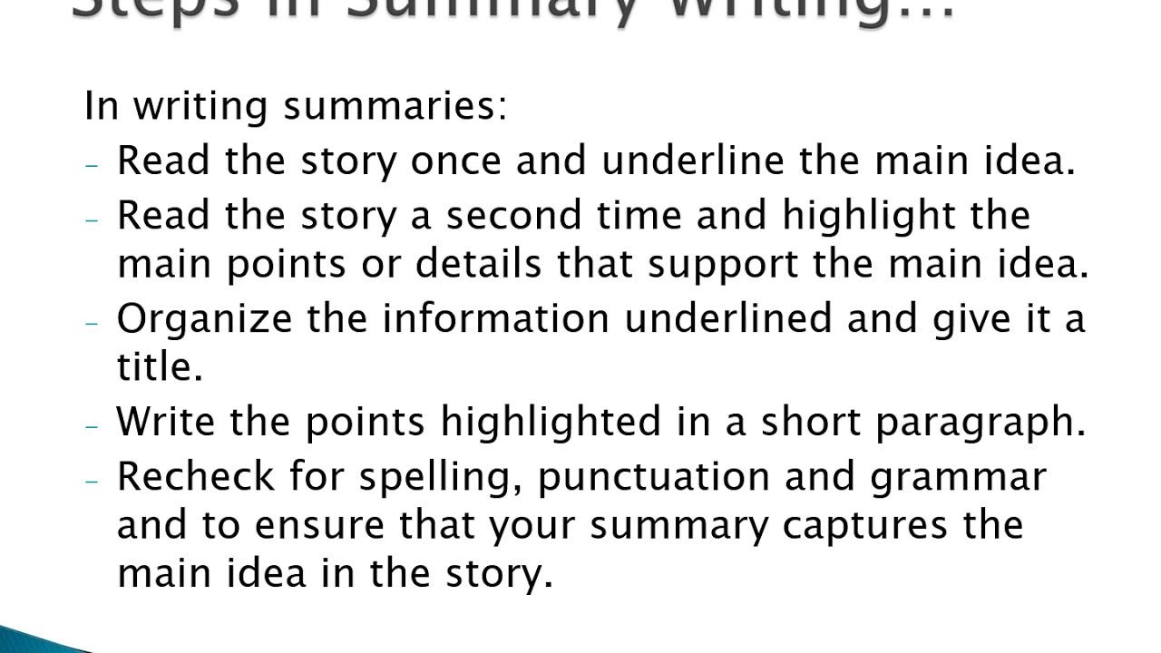Grade 30 Summary writing