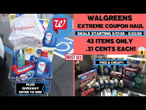 HUGE WALGREENS EXTREME COUPON HAUL DEALS STARTING 5/17/20~43 ITEMS ONLY .31 CENTS EACH & GIVEAWAY
