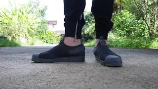 Adidas Superstar Slip on Triple Black on Feet