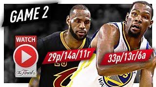 LeBron James vs Kevin Durant Game 2 MVP Duel Highlights (2017 Finals) Cavaliers vs Warriors - EPIC