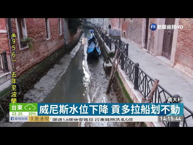 威尼斯水位下降 貢多拉船划不動|華視新聞 20210228