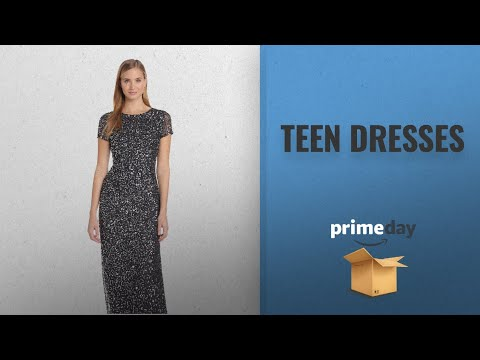 Teen Dresses Prime Day Deals 2018: Adrianna Papell Women's Short Sleeve All Over Sequin Gown,