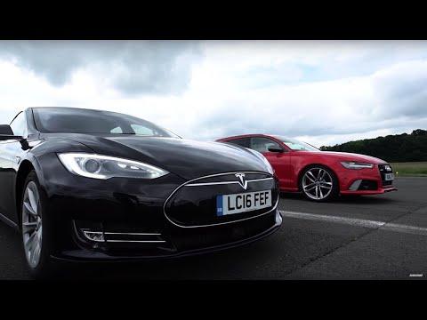 Tesla Model S vs Audi RS6 - Top Gear: Drag Races