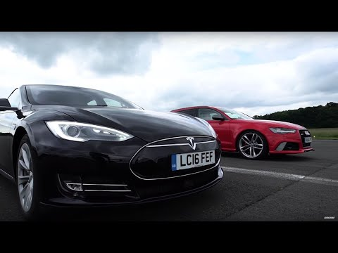 Tesla Model S vs Audi RS6 - Top Gear: Drag Races