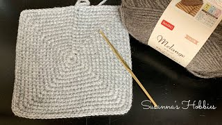メランジ簡単バッグ❤正方形底の編み方(字幕付) Crochet Square Bag Base Free Written Pattern & Tutorial スザンナのホビー かぎ針編み