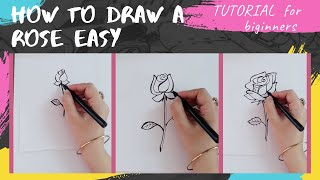 How to Draw a R๐se Easy Art Tutorial for Beginners/3 Different Rose Sketches for Beginners