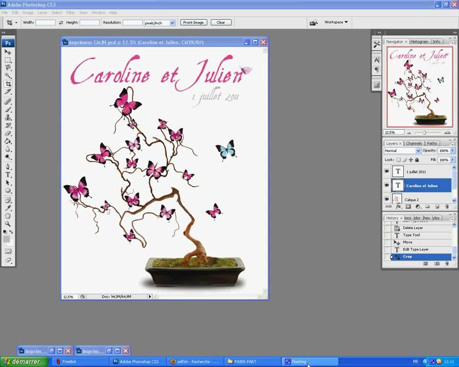 Fabuleux Faire-part mariage papillon sur photoshop : TV KIT MARIAGE - YouTube SD73