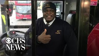 Once-homeless man becomes London's happiest bus driver
