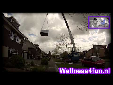 Plaatsing Spa Wellnes4fun & Schot verticaal transport.