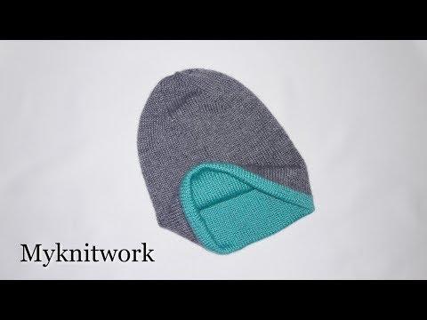 Как связать шапку двойную шапку спицами видео