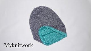 Двухслойная шапка спицами. Двойная двухсторонняя теплая шапка.