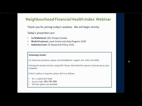 Webinar: The Neighbourhood Financial Health Index