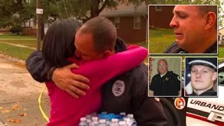 Cop Sobs In Arms of Stranger Who Brought Him Food After Fellow Iowa Officers Die