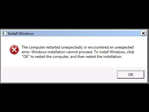 fix the computer restarted unexpectedly or encountered an unexpected error Win7 win8 win10
