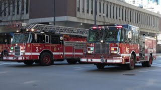 Fire Trucks Responding To An Emergency In Chicago!