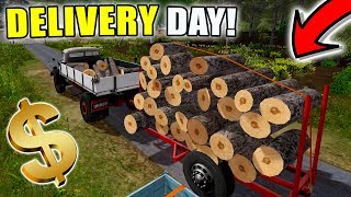 SELLING OUR LOAD OF WOOD   OLD FASHION LOGGING   NEW TRAILER   FARMING SIMULATOR 2017