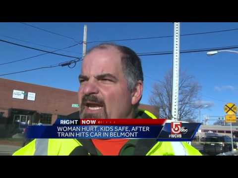Woman injured, kids safe after MBTA commuter rail train hits car