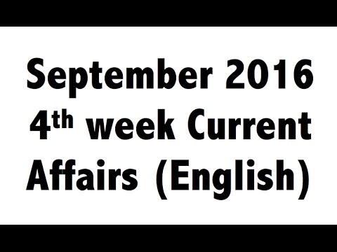 (English) September 2016 4th week (26th-30th) Best Current Affairs MCQ GK