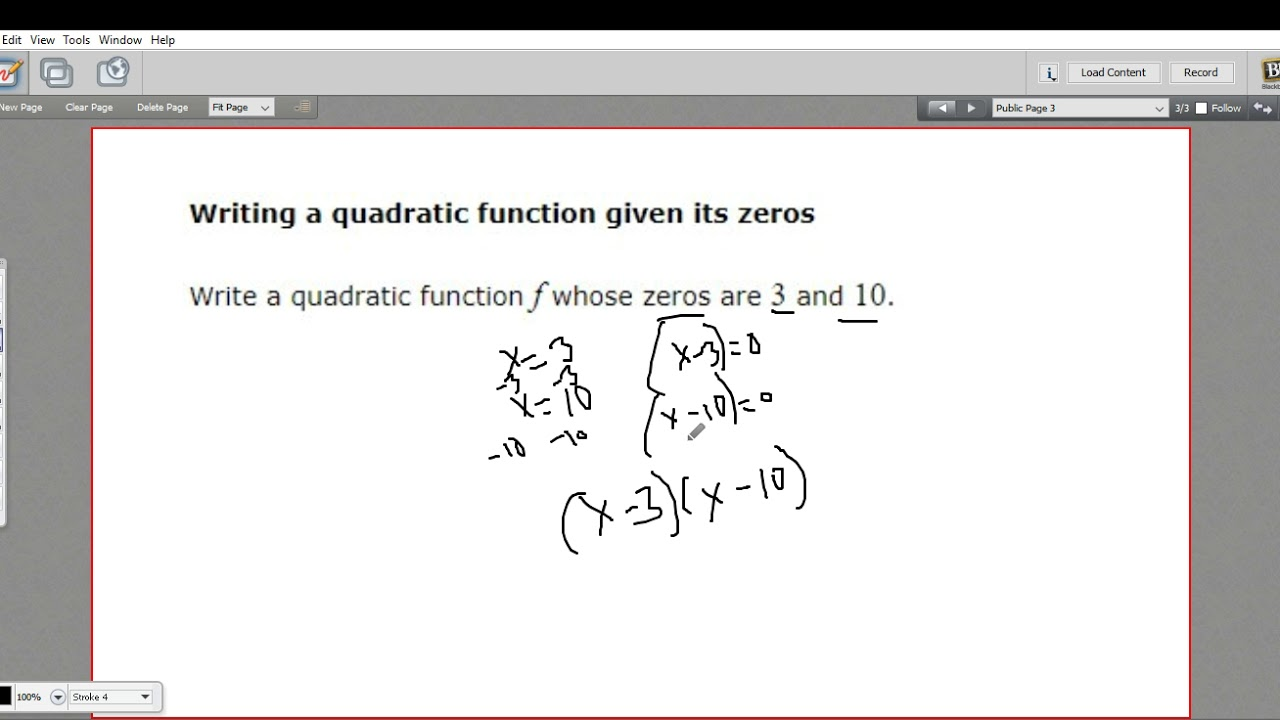 Writing a quadratic function given its zeros youtube writing a quadratic function given its zeros falaconquin
