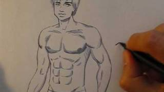How to draw a hunky male body, in manga style - Eddie Chin