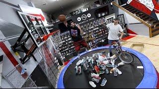 trampoline in sneaker shop