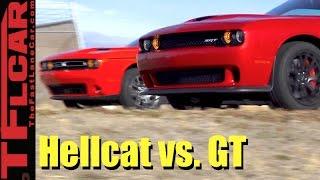 HP vs AWD: 2017 Dodge Challenger Hellcat vs Challenger GT AWD Drag Race