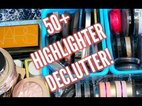 50+ Highlighter Declutter With Swatches! (SAVAGE MAKEUP DECLUTTER!)