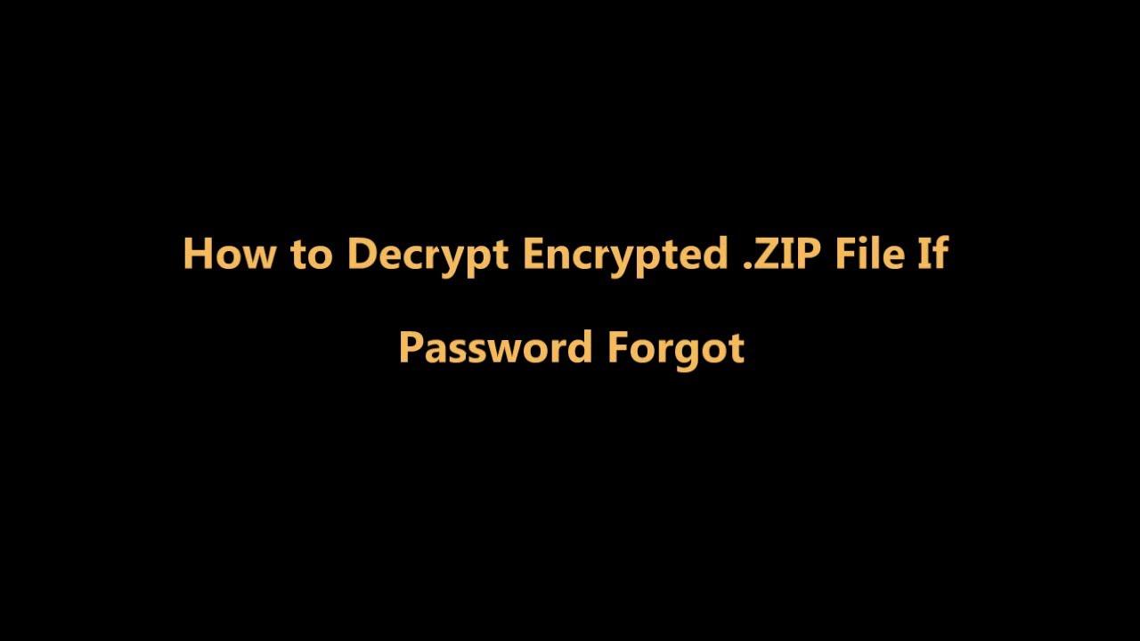 how to decrypt zip password