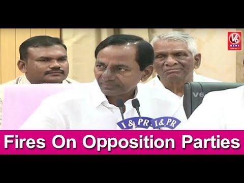 CM KCR Press Meet : Fires On Opposition Parties || Part- 1 || V6 News