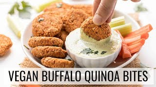 EASY BUFFALO QUINOA BITES with vegan ranch dressing!