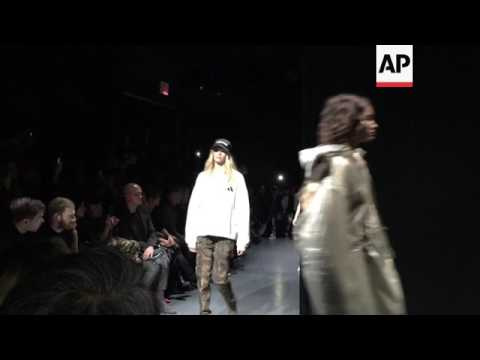 Cell phone video of Kanye West's latest Yeezy collection shown at New York Fashion Week