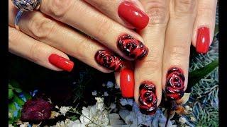 Дизайн ногтей роза. Крутой красный и черный  маникюр. Объемный дизайн ногтей гель лаком