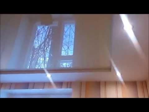 Белый сатин и Бежевый глянец немецкого производства Lackfolie в Двухуровневом натяжном потолке в Гос