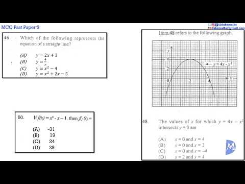 46,48&50 | Relations, Functions and Graphs | Multiple Choice 3 | CXC CSEC Mathematics