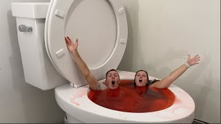 Worlds Largest Toilet Jumping, Diving, Swimming in Red Pool #shorts