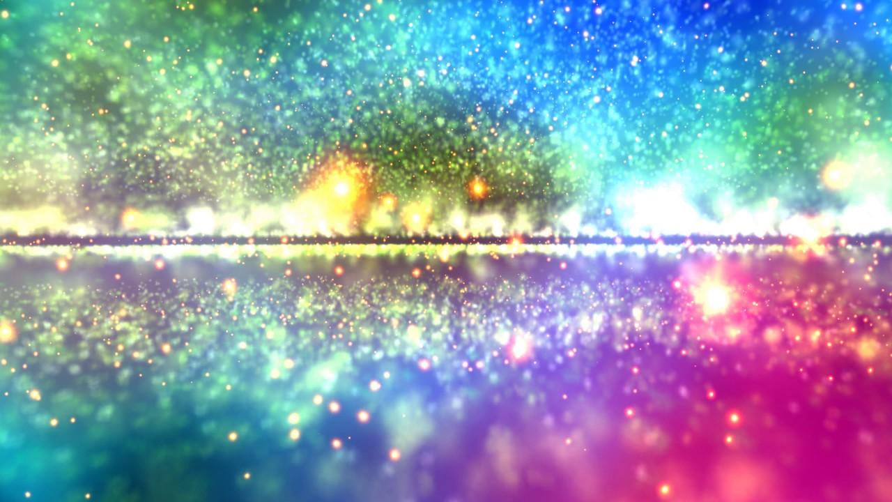 4k colorful sparkling massive rainbow particle horizon 2160p