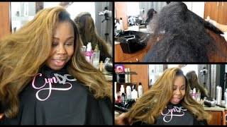 HOW TO DO A DETAILED Silk Press on Thick LONG Natural Hair! Full Highlights & Lowlights
