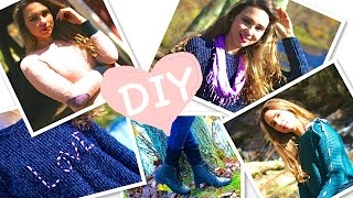 DIY Clothes! 5 Easy DIY for Fall / Winter (Swatters, Scarf, Leg Warmer) No sew! Thumbnail