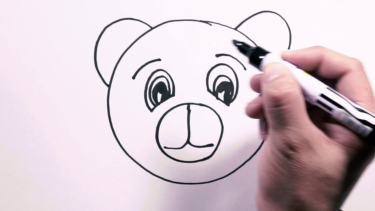 How to Draw Bear Face - Draw Easy   Freehand Easy-to ...