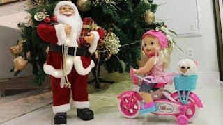 Valentina ganha de natal uma Boneca Little Mommy que anda de bicicleta