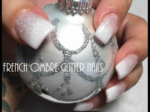 French Ombre Glitter Nails
