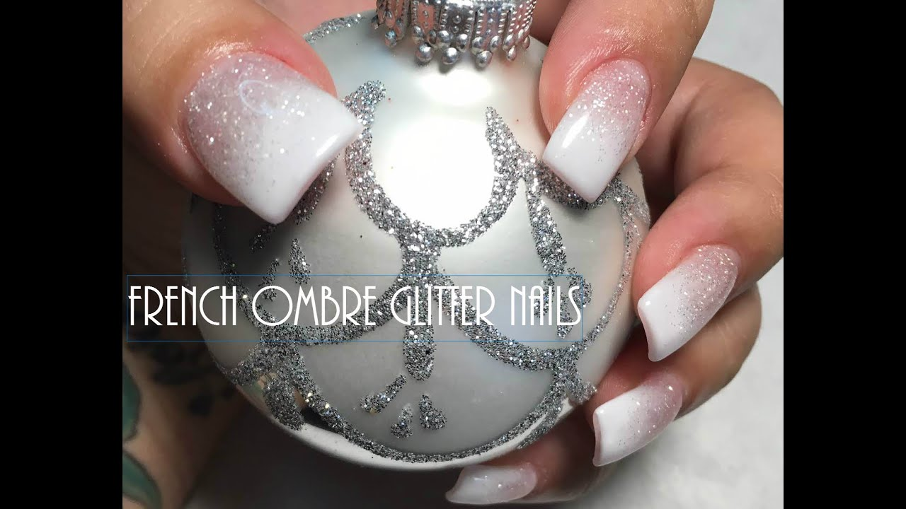 French Ombre Glitter Nails - YouTube