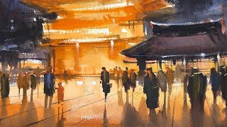 """Advancing with Watercolor: People and Places """"Yasakusa Shrine, Night Viewing"""""""
