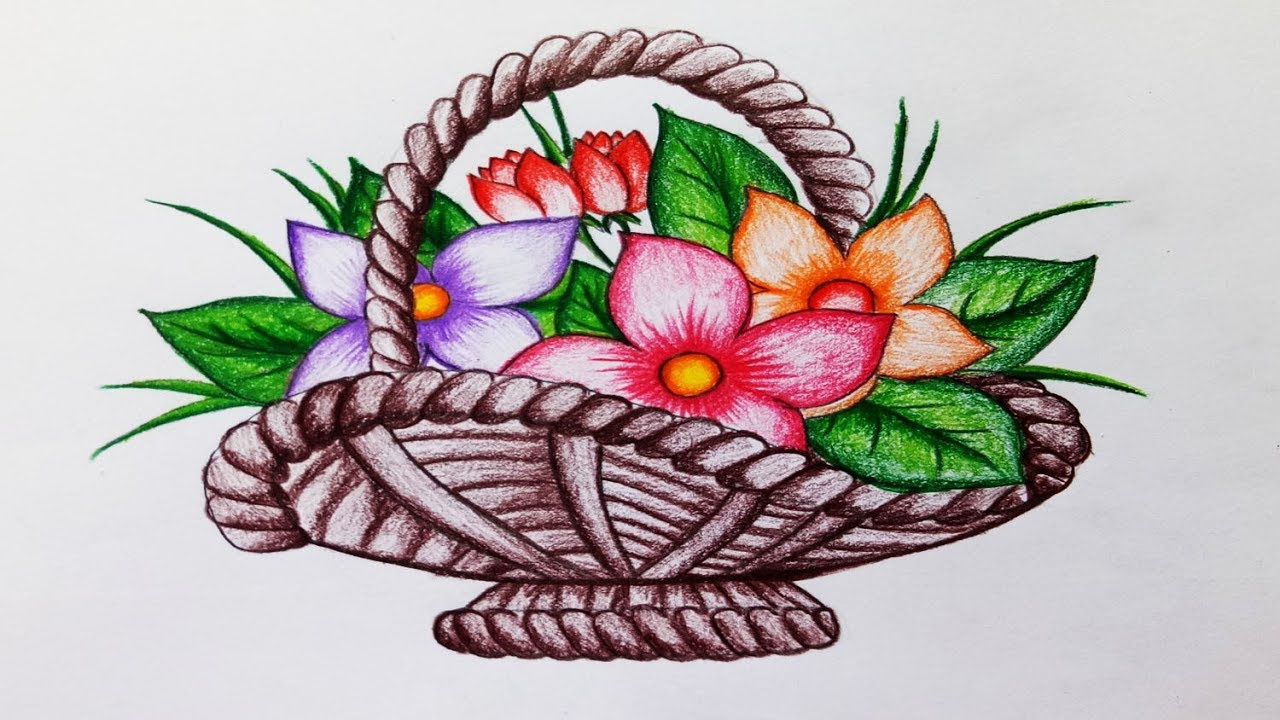 How To Draw Flower Basketep By Stepeasy Draw Youtube