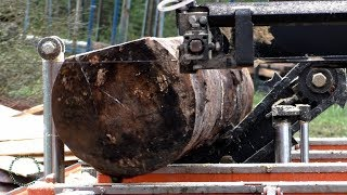 sawmilling one log. full speed. all the sound.