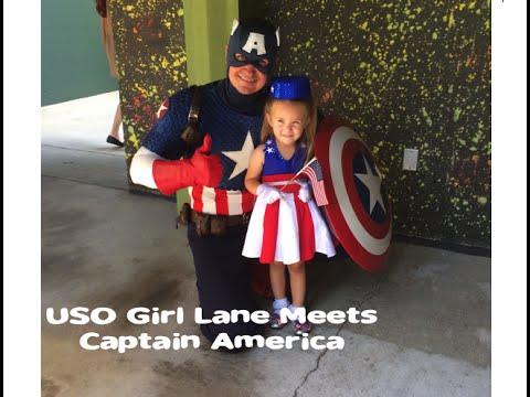 USO Girl Lane visits Captain America