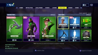 Fortnite livestream GET AWAY IS BACK BUYING SGT GREEN CLOVER AND POT 'O GOLD tonight