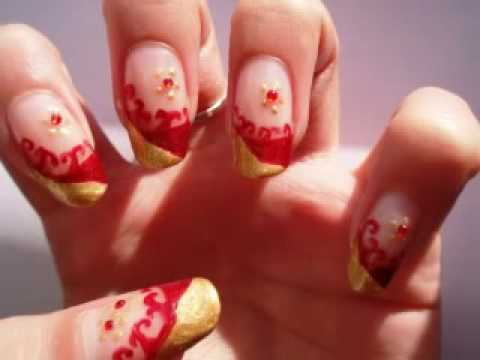 easy red and gold nail design youtube