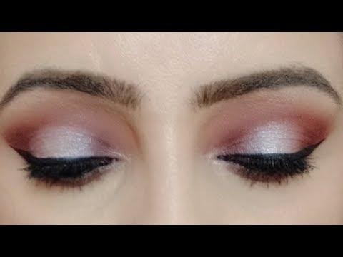 Mauve silver eye makeup tutorial | Dark mauve party eye makeup | Carli Bybel pallete tutorial thumbnail