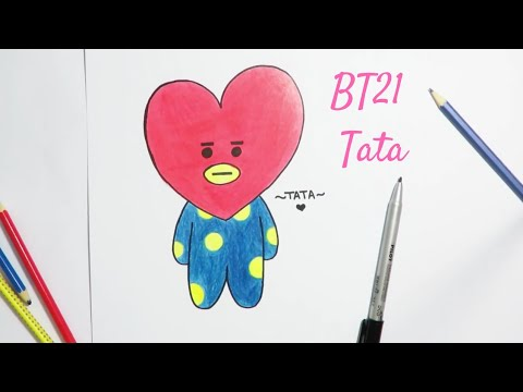 Drawing BT21 Tata how to draw, easy step by step drawing tutorial | BTS - YouTube